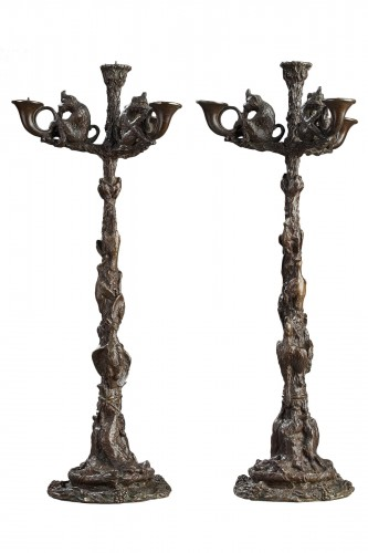 Pair of monkey candelabras - Christophe FRATIN (1801-1864)