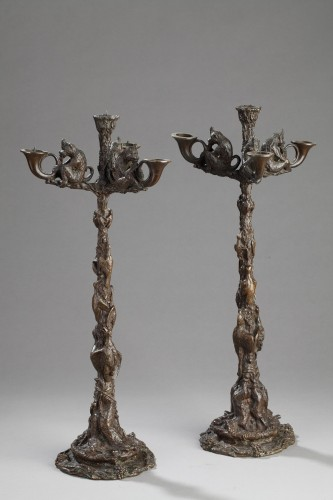 Pair of monkey candelabras - Christophe FRATIN (1801-1864) - Lighting Style Louis-Philippe