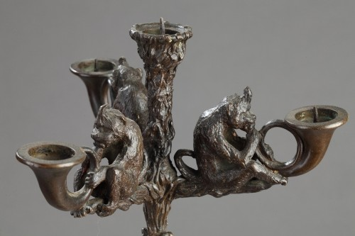 Lighting  - Pair of monkey candelabras - Christophe FRATIN (1801-1864)