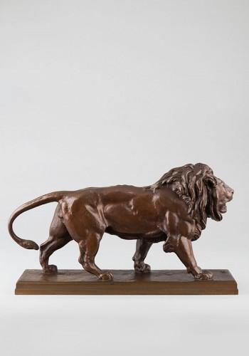 Walking Lion - Antoine-Louis BARYE (1796-1875) - Sculpture Style Napoléon III