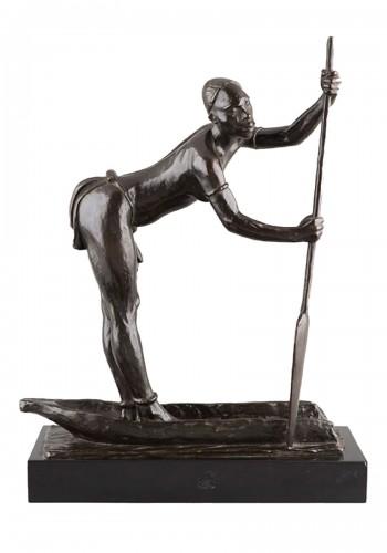African woman on a dugout Canoe - Arthur DUPAGNE (1895-1961)