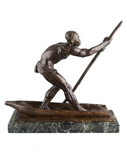 African Man on a dugout Canoe - Arthur DUPAGNE (1895-1961)