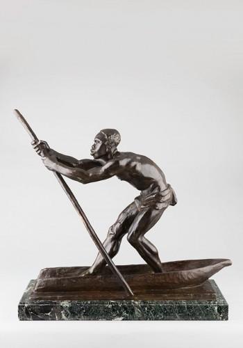 Sculpture  - African Man on a dugout Canoe - Arthur DUPAGNE (1895-1961)