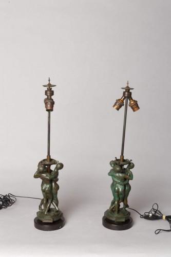 "Pair of lamps ""The Graces"" - Antoine-Louis BARYE (1796-1875) - Lighting Style"