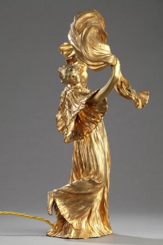 "Lamp ""Dancer with a scarf"" - Agathon LEONARD (1841-1923) - Lighting Style Art nouveau"