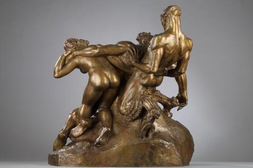 Silene drunk with Faun and Fauness - Alexandre DESCATOIRE (1874-1949) - Sculpture Style Art Déco