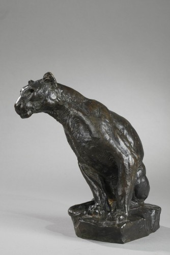 Panther watching - Roger GODCHAUX (1878-1958) - Sculpture Style Art Déco
