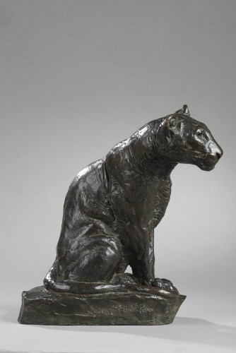 20th century - Panther watching - Roger GODCHAUX (1878-1958)