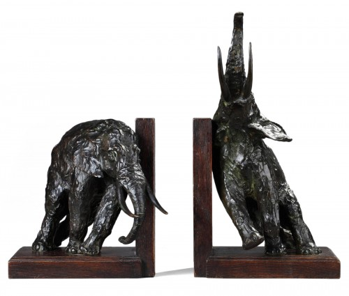 Pair of bookends with Elephants - Ary BITTER (1883-1973)