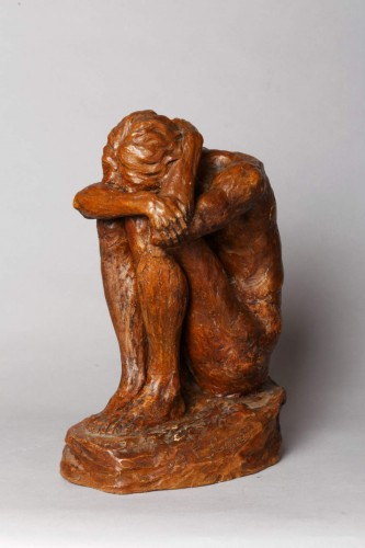 20th century - A crouching young man - Emmanuel CAVACOS  (1885-1976)