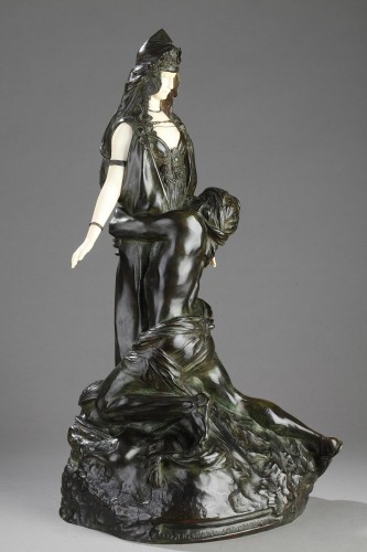 Salammbo at Matho, I love you ! I love you - Théodore RIVIERE (1857-1912) - Sculpture Style
