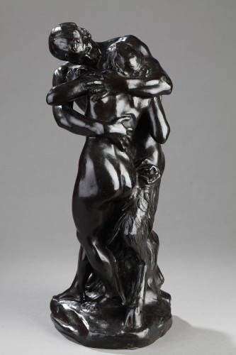 "The Kiss"" or Nymph and Faun - Aimé-Jules DALOU (1838-1902) - Sculpture Style"