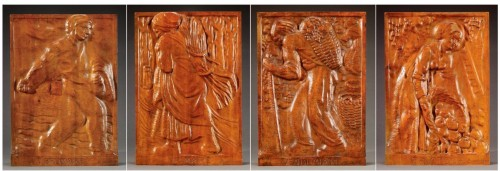 Set of 4 carved panels - Edouard CHASSAING (1895-1974)