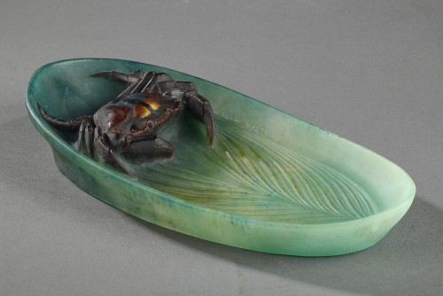 Glass & Crystal  - Pin Tray with a Crab - Almaric Walter (1870-1959)