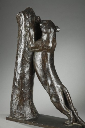Sculpture  - Panther sharpening its claws - Georges GUYOT (1885-1973)