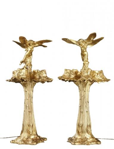 "Pair of ""Dragonflies"" Lamps - Raoul Larche (1860-1912)"
