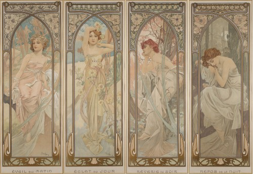 The Times of Day - Alphonse Mucha (1860-1939) - Engravings & Prints Style Art nouveau