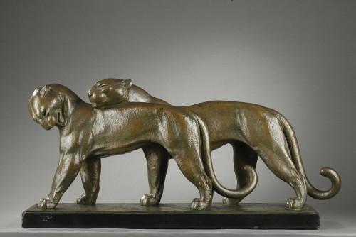 Two Panthers - André-vincent Becquerel (1893-1981) - Sculpture Style Art Déco