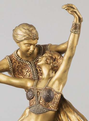 Sculpture  - Oriental Dancers - Claire-Jeanne-Roberte COLINET (1880-1950)