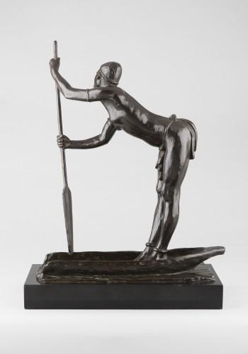 Woman with a pirogue - Arthur Dupagne (1895-1961 ) - Sculpture Style Art Déco