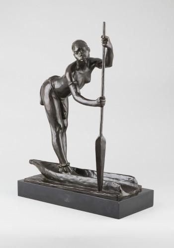 Sculpture  - Woman with a pirogue - Arthur Dupagne (1895-1961 )