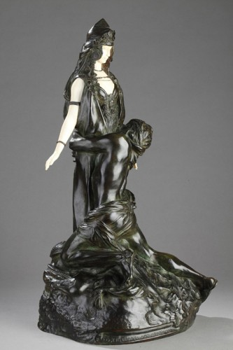 """""""Salammbo at Matho, I love you ! I love you"""" - Théodore RIVIERE (1857-1912) - Sculpture Style Art nouveau"""