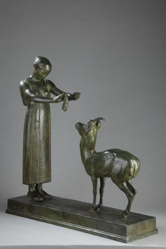 Sculpture  - Woman and Gazelle - Henri BOUCHARD (1875-1960)