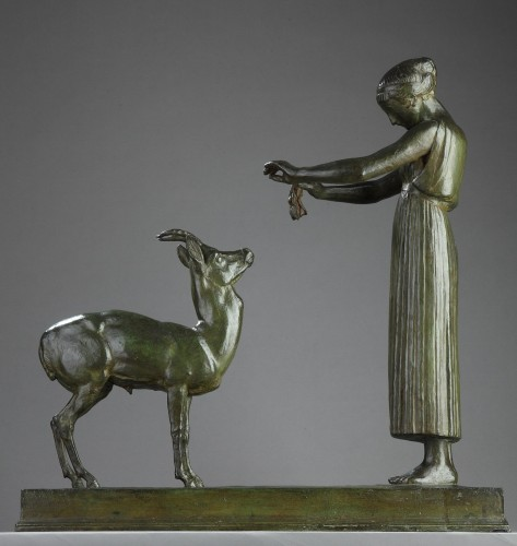 Woman and Gazelle - Henri BOUCHARD (1875-1960) - Art Déco