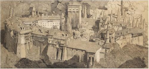 Mont Athos - Paul JOUVE (1878-1973)