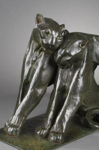 20th century - Two panthers - André-Vincent BECQUEREL (1893-1983)