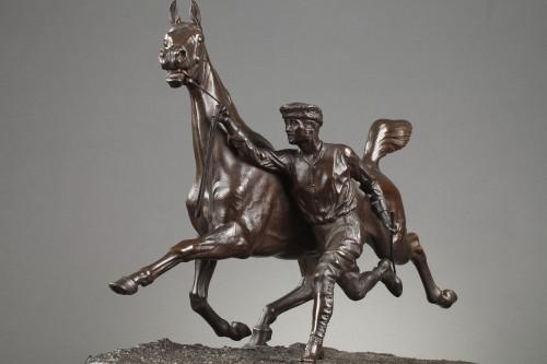 Horse training with its stable lad - Arthur COMTE DU PASSAGE (1838-1909) -