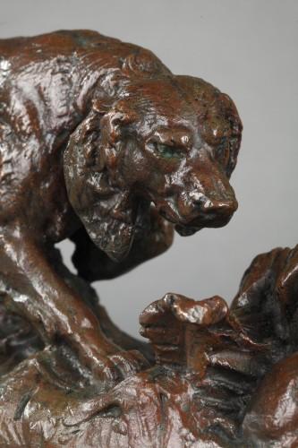 Sculpture  - A spaniel pointing a rabbit - Antoine-Louis BARYE (1796-1875)