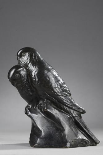 Two Parakeets - Edouard-marcel Sandoz (1881-1971) - Sculpture Style Art Déco