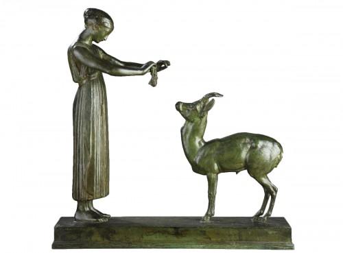 Woman and Gazelle - Henri BOUCHARD (1875-1960)