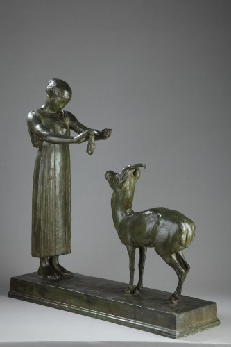 Woman and Gazelle - Henri BOUCHARD (1875-1960) - Sculpture Style Art Déco