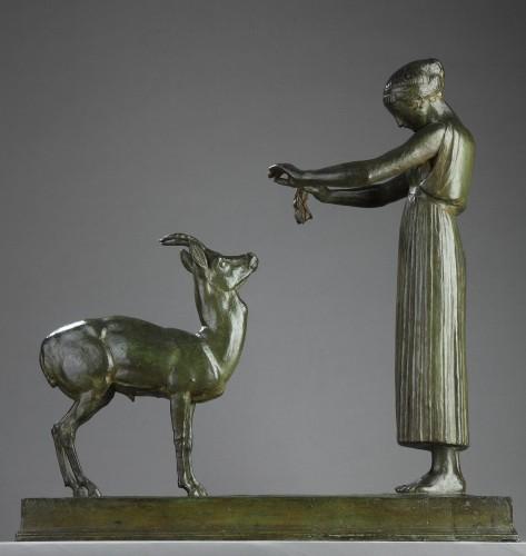 20th century - Woman and Gazelle - Henri BOUCHARD (1875-1960)
