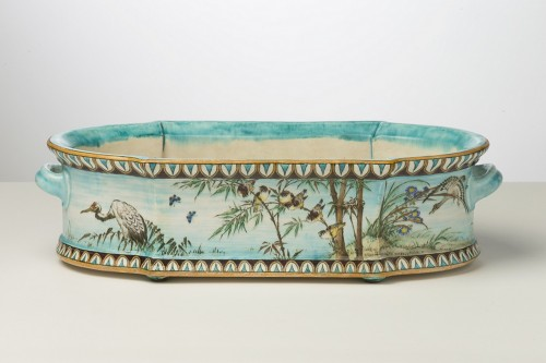 Théodore Deck, Jardiniere with rooster - Porcelain & Faience Style