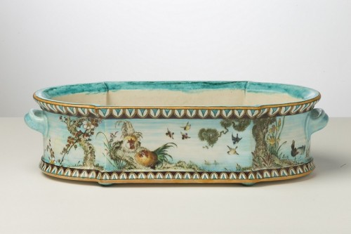 Porcelain & Faience  - Théodore Deck, Jardiniere with rooster