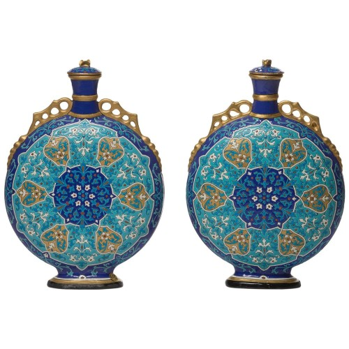 Charles Poyard, pair of Asian-inspired flasks - Porcelain & Faience Style