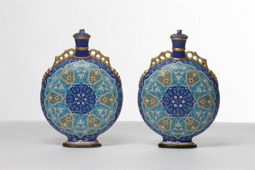 Charles Poyard, pair of Asian-inspired flasks -