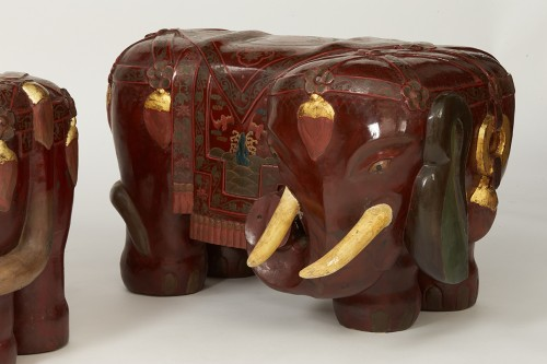Asian Art & Antiques  - Pair of elephants lacquered stools