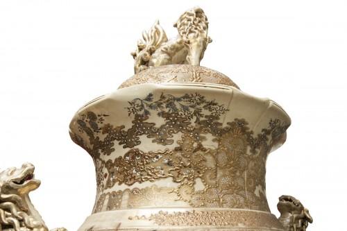 Monumental Satsuma Vase - Porcelain & Faience Style