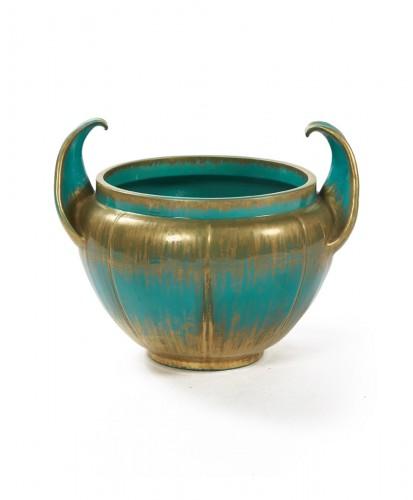 Clément Massier - Turquoise Flowerpot, circa 1900