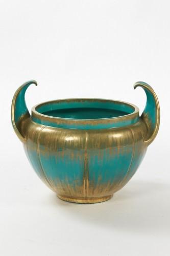 Clément Massier (1844 - 1917)  - Turquoise Flowerpot, circa 1900 - Porcelain & Faience Style