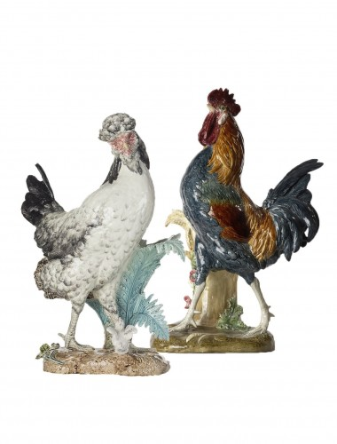 A Rooster and a Hen of Bress, signed P. Comoléra