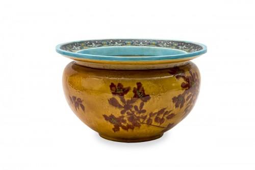 Cachepot by Félix Optat Milet called Optat MILET (1838-1911) et Émile DIFFL - Porcelain & Faience Style