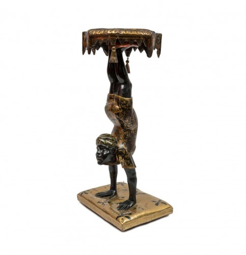A Polychrome Venitian Stand representing a Nubian Acrobat