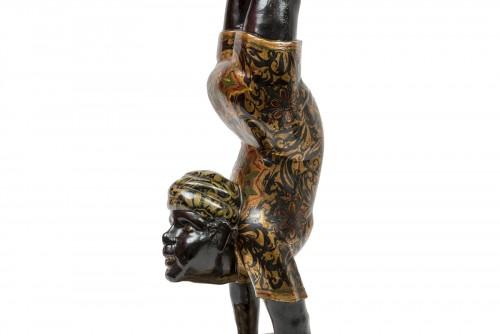A Polychrome Venitian Stand representing a Nubian Acrobat - Furniture Style