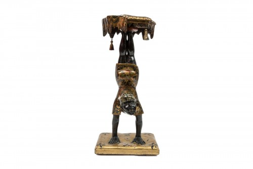 Decorative Objects  - A Polychrome Venitian Stand representing a Nubian Acrobat