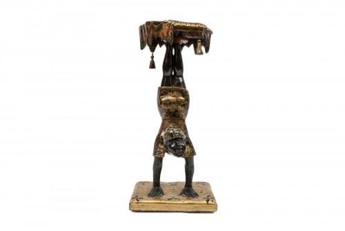 Furniture  - A Polychrome Venitian Stand representing a Nubian Acrobat